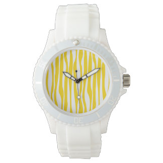 Yellow & White Waves Pattern Watch