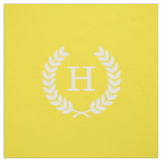 Yellow White Wheat Laurel Wreath Initial Monogram Fabric