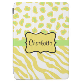 Yellow White Zebra Leopard Skin Name Personalized iPad Air Cover