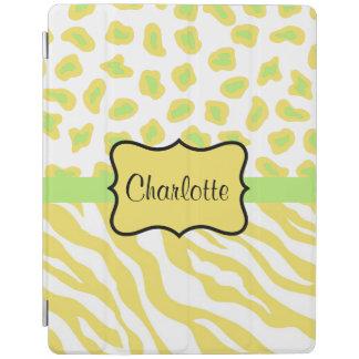 Yellow White Zebra Leopard Skin Name Personalized iPad Cover
