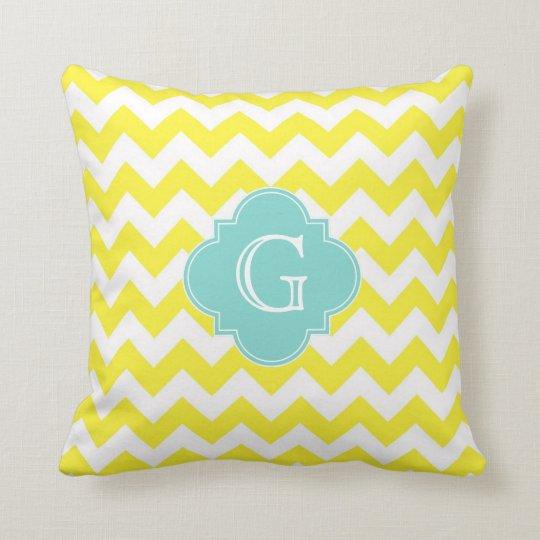 Yellow Wht Chevron Zigzag Aqua Quatrefoil Monogram Throw Pillow