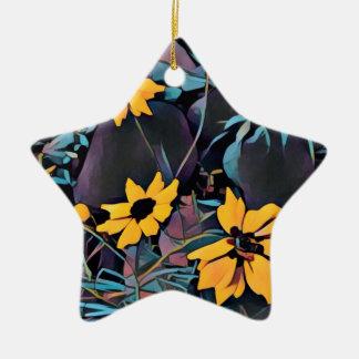 Yellow Wild Flowers Ceramic Star Ornament