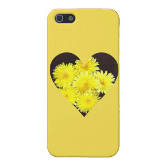 Yellow Wild Flowers Filled Heart iPhone 5 Case