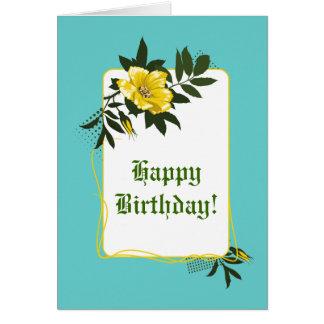 Yellow wild rose aqua floral Happy Birthday Card