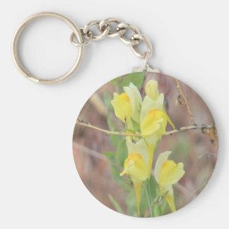 Yellow Wildflower Basic Round Button Keychain
