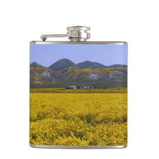 Yellow Wildflower Field Landscape Hip Flask