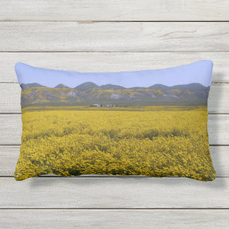 Yellow Wildflower Field Landscape Outdoor Pillow
