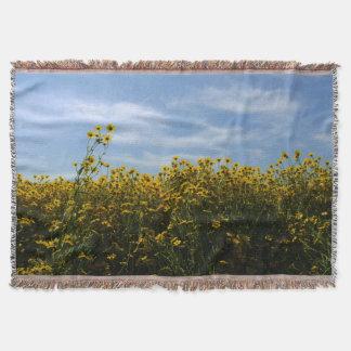 Yellow Wildflower Field Landscape Throw Blanket