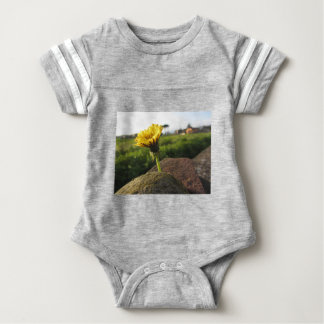 Yellow wildflower growing on stones at sunset baby bodysuit