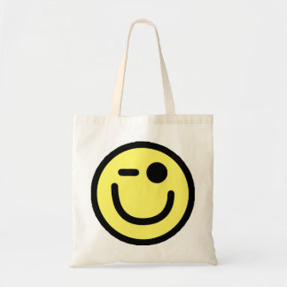 Yellow Winking Smiley Face Budget Tote Bag