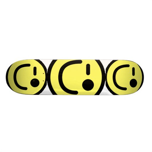 Yellow Winking Smiley Face Skate Boards