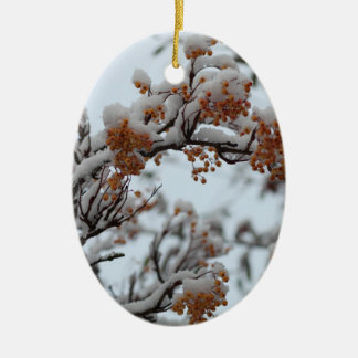 Yellow Winter Berries Ceramic Ornament