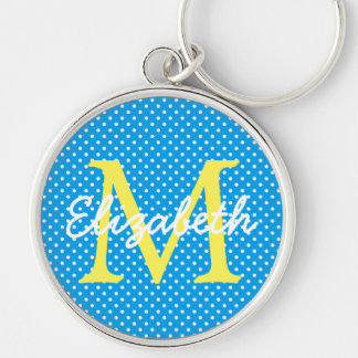 Yellow With Blue and White Polka Dot Monogram Silver-Colored Round Keychain