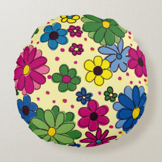 Yellow with Brightly Colored Flowers Pillow