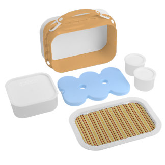 Yellow With Orange Stripes Pattern Lunch Boxes