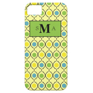 Yellow with teal, green & yellow dots & monogram iPhone 5 case