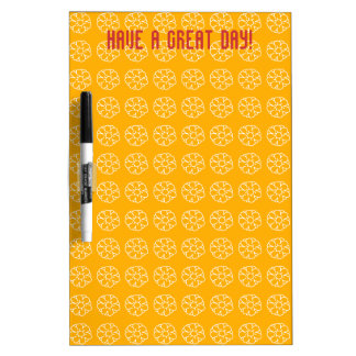 Yellow With White Floral Pattern Dry Erase Board