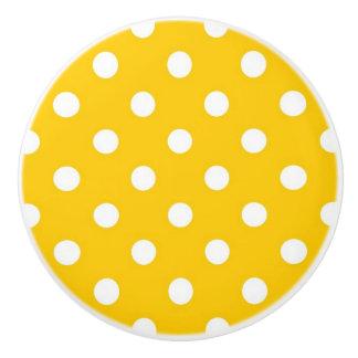 Yellow with white polka dots ceramic knob