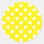Yellow with White Polka Dots Round Sticker