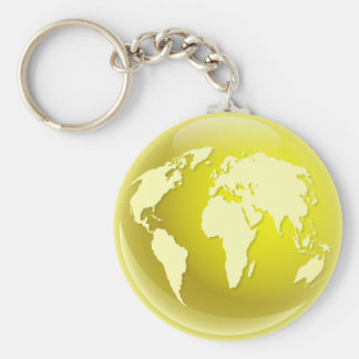 Yellow World Globe Basic Round Button Keychain