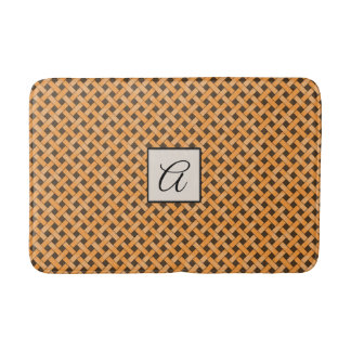 Yellow Woven Rattan on Custom Color with Monogram Bath Mat
