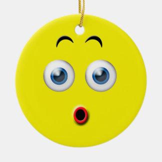 Yellow Wow Surprised Emoji Custom Name Ceramic Ornament