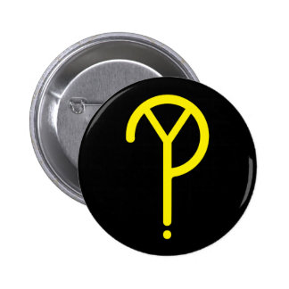 Yellow Y? Symbol- On Black 2 Inch Round Button