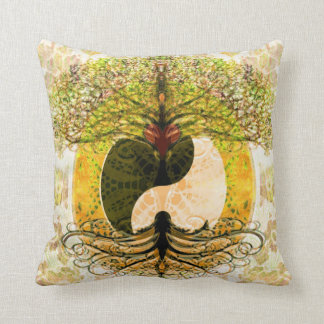 Yellow Yin Yang w/ Tree of Life Throw Pillow