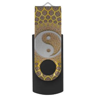 Yellow Ying Yang Mandala USB Flash Drive