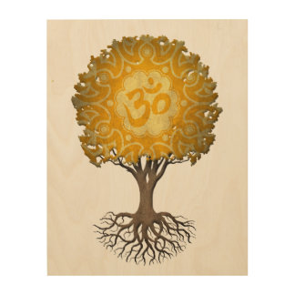 Yellow Yoga Om Tree of Life Wood Print