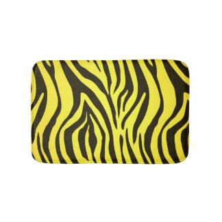 Yellow zebra animal print pattern bath mat