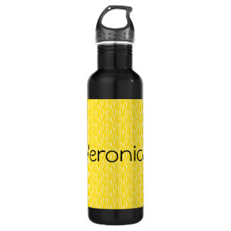 Yellow Zebra Print Pattern Personalize 710 Ml Water Bottle