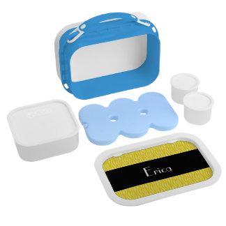 Yellow Zebra Print Pattern Personalize Lunchboxes