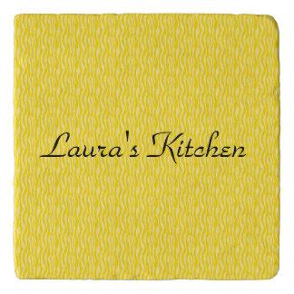 Yellow Zebra Print Pattern Stripes Personalize Trivet