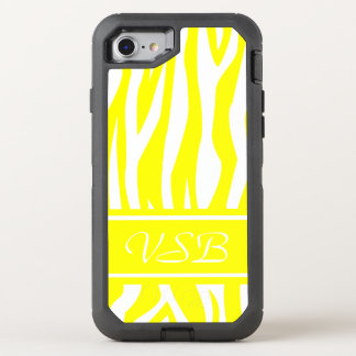 Yellow Zebra Print with monogram OtterBox Defender iPhone 7 Case