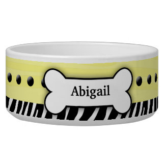 Yellow Zebra Stripe Custom Pet Dog Food Bowl