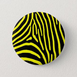 Yellow Zebra Stripes 2 Inch Round Button