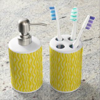 Yellow Zebra Stripes Print Pattern Bathroom Set