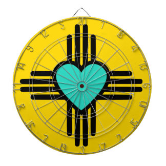 Yellow Zia Heart Dartboard With Darts