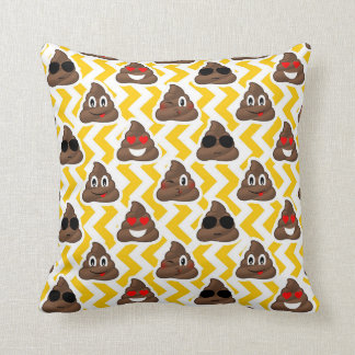 Yellow Zig Zag Poop Emojis Throw Pillow