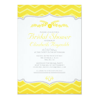 Yellow Zigzag Bridal Shower Invitations