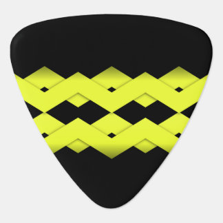 Yellow Zigzag on Black Guitar Pick