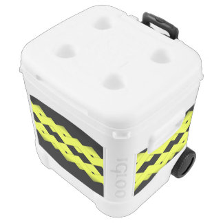 Yellow Zigzag on Black Rolling Cooler