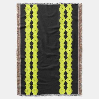 Yellow Zigzag on Black Throw Blanket
