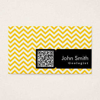 Yellow Zigzag QR Code Geologist Business Card