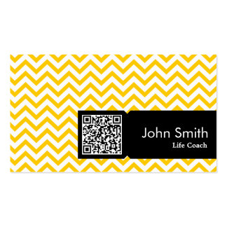 Yellow Zigzag QR Code Life Coach Business Card