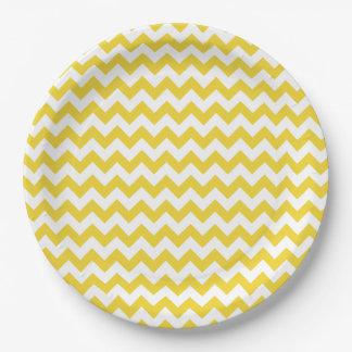 Yellow Zigzag Stripes Chevron Pattern 9 Inch Paper Plate