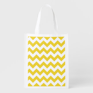 Yellow Zigzag Stripes Chevron Pattern Grocery Bags