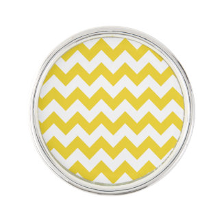 Yellow Zigzag Stripes Chevron Pattern Lapel Pin