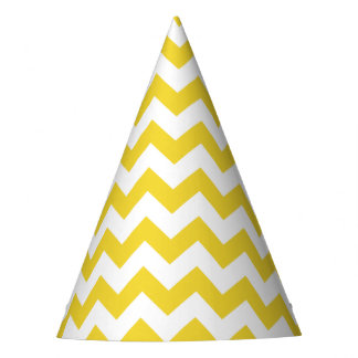 Yellow Zigzag Stripes Chevron Pattern Party Hat